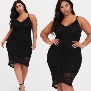 Torrid Black Lace Hi Lo Midi Dress Womens 2X